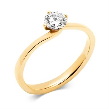 18ct Yellow Gold Twist Design Diamond Solitaire Engagement Ring 0.50ct thumbnail