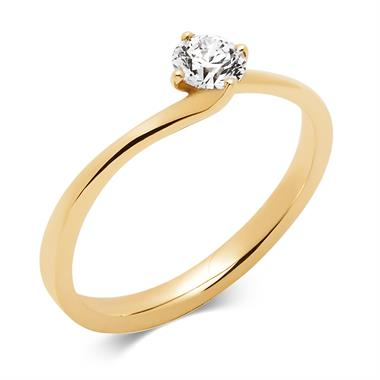 18ct Yellow Gold 0.35ct Diamond Twist Solitaire Engagement Ring thumbnail