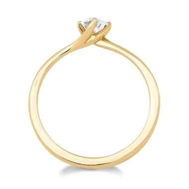 18ct Yellow Gold Twist Design Diamond Solitaire Engagement Ring 0.35ct thumbnail