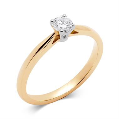 18ct Yellow Gold 0.33ct Diamond Classic Solitaire Ring thumbnail