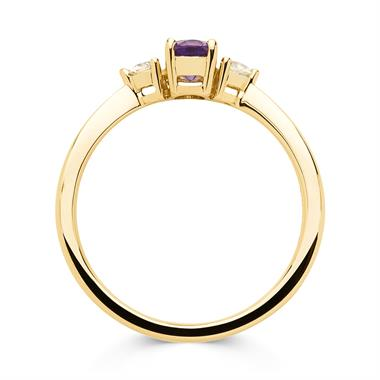 18ct Yellow Gold Amethyst and Diamond Three Stone Ring thumbnail