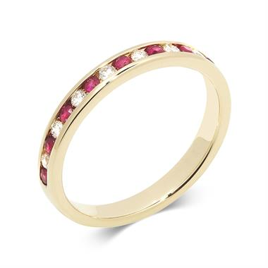 18ct Yellow Gold Ruby and Diamond Half Eternity Ring thumbnail
