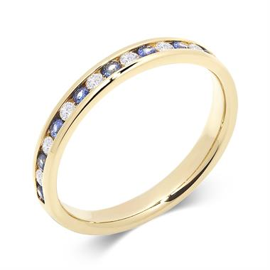 18ct Yellow Gold Sapphire and Diamond Half Eternity Ring thumbnail