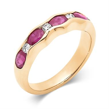 18ct Yellow Gold Ruby and Diamond Wave Half Eternity Ring thumbnail
