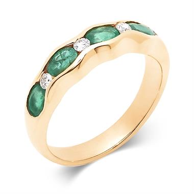 18ct Yellow Gold Emerald and Diamond Wave Half Eternity Ring thumbnail