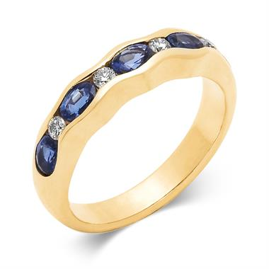 18ct Yellow Gold Sapphire and Diamond Wave Half Eternity Ring thumbnail