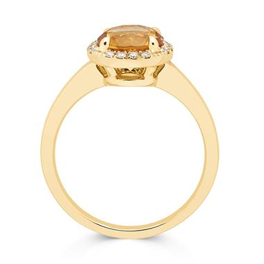 Camellia 18ct Yellow Gold Citrine and Diamond Ring thumbnail