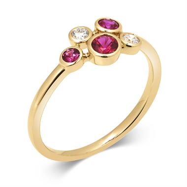 Alchemy 18ct Yellow Gold Ruby and 0.09ct Diamond Ring thumbnail