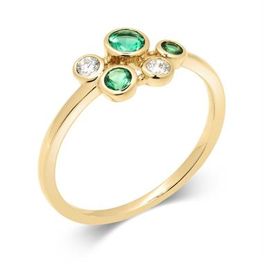 Alchemy 18ct Yellow Gold Emerald and Diamond Dress Ring (Small) thumbnail