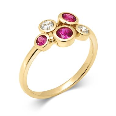 Alchemy 18ct Yellow Gold Ruby and 0.21ct Diamond Ring thumbnail