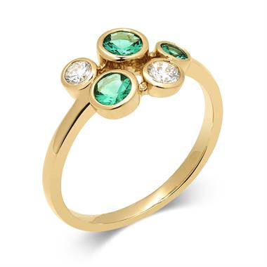 Alchemy 18ct Yellow Gold Emerald and 0.21ct Diamond Ring thumbnail