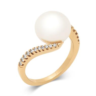 18ct Yellow Gold Twist Design Pearl and Diamond Dress Ring thumbnail
