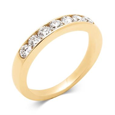 18ct Yellow Gold 0.60ct Seven Diamond Half Eternity Ring thumbnail