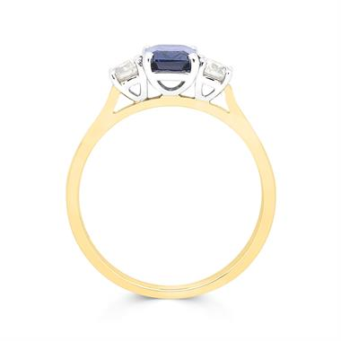 18ct Yellow Gold Sapphire and 0.36ct Diamond Three Stone Ring thumbnail