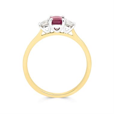18ct Yellow Gold Emerald Cut Ruby and Diamond Three Stone Engagement Ring thumbnail