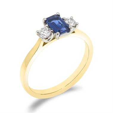 18ct Yellow Gold Sapphire and 0.24ct Diamond Three Stone Ring thumbnail