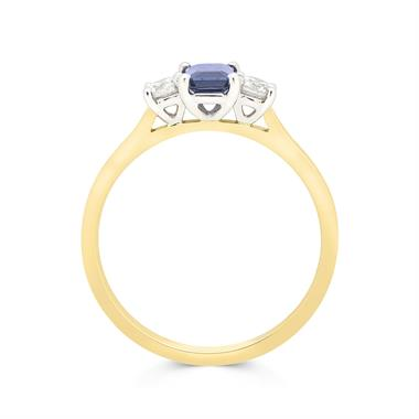 18ct Yellow Gold Emerald Cut Sapphire and Diamond Three Stone Engagement Ring thumbnail