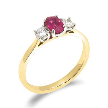 18ct Yellow Gold Oval Ruby and Diamond Three Stone Ring thumbnail