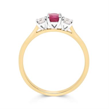 18ct Yellow Gold Oval Ruby and Diamond Three Stone Engagement Ring thumbnail