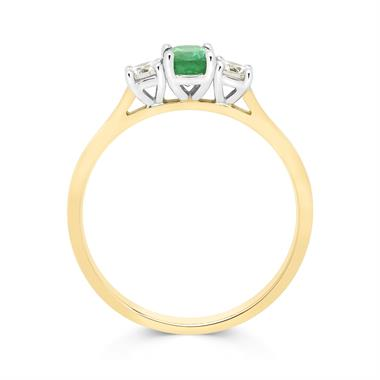 18ct Yellow Gold Oval Emerald and Diamond Three Stone Ring thumbnail