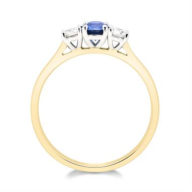 18ct Yellow Gold Oval Sapphire and Diamond Three Stone Ring thumbnail