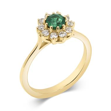 18ct Yellow Gold Emerald and Diamond Flower Cluster Ring thumbnail