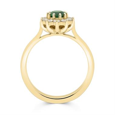 18ct Yellow Gold Emerald and Diamond Cluster Engagement Ring thumbnail