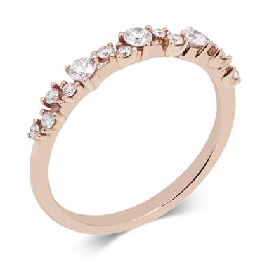 18ct Rose Gold Diamond Garland Style Ring thumbnail