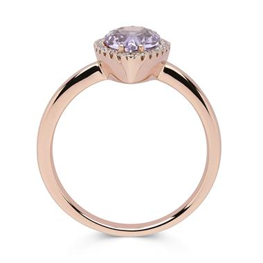 18ct Rose Gold Amethyst and Diamond Pear Shape Ring thumbnail