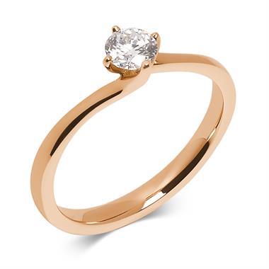 18ct Rose Gold 0.35ct Diamond Twist Solitaire Ring thumbnail