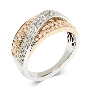 18ct White and Rose Gold 0.75ct Diamond Ring thumbnail
