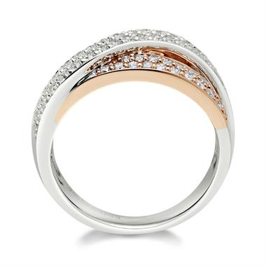 18ct White and Rose Gold Diamond Dress Ring 0.75ct thumbnail