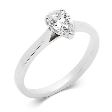 Platinum Diamond Pear Shape Solitaire Ring 0.70ct thumbnail