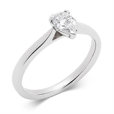 Platinum 0.50ct Diamond Pear Shape Solitaire Ring thumbnail
