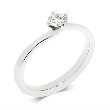 Platinum 0.25ct Diamond Twist Solitaire Ring thumbnail