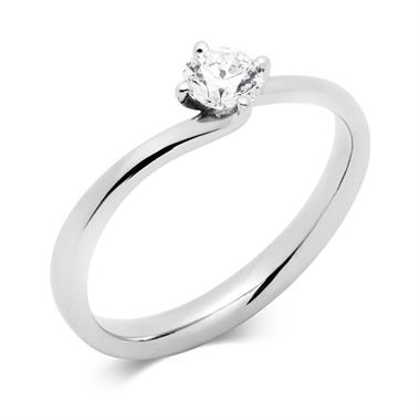Platinum 0.35ct Diamond Twist Solitaire Ring thumbnail