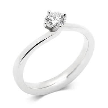 Platinum 0.40ct Diamond Twist Solitaire Ring thumbnail