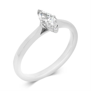 Platinum Marquise Cut Diamond Solitaire Engagement Ring 0.50ct thumbnail