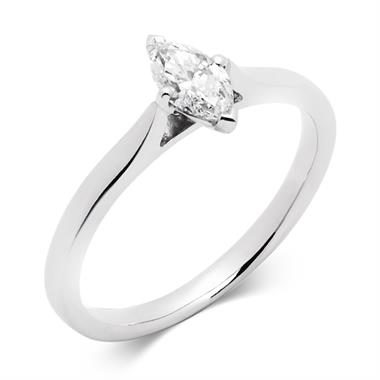 Platinum 0.40ct Diamond Marquise Cut Solitaire Ring thumbnail