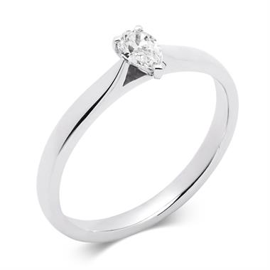 Platinum 0.25ct Diamond Pear Shape Solitaire Ring thumbnail