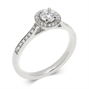 Platinum 0.58ct Vintage Inspired Diamond Halo Ring thumbnail