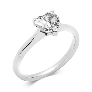 Platinum 1.00ct Diamond Heart Shape Solitaire Ring thumbnail