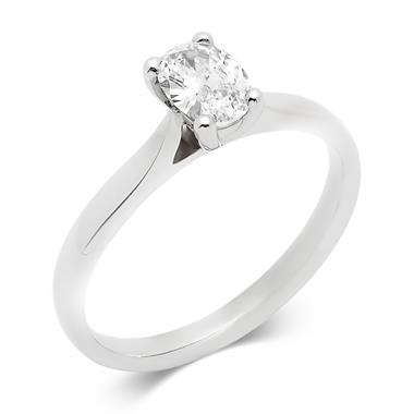Platinum Oval 0.50ct Diamond Solitaire Ring thumbnail