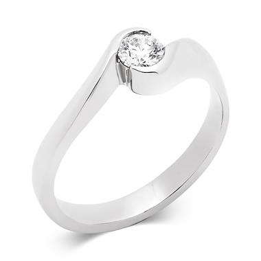 Platinum Twist Design Diamond Solitaire Engagement Ring 0.25ct thumbnail