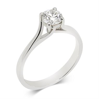 Platinum Twisted Claw Design Diamond Solitaire Engagement Ring 0.50ct thumbnail