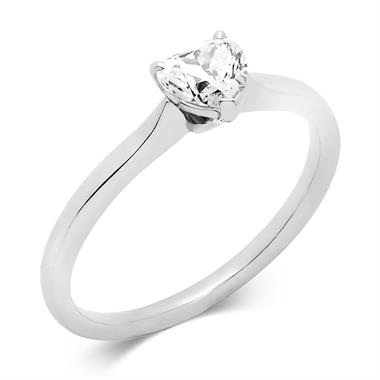 Platinum 0.50ct Diamond Heart Shape Solitaire Ring thumbnail