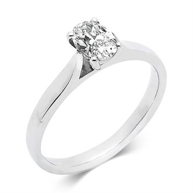 Platinum Oval Cut Diamond Solitaire Engagement Ring 0.60ct thumbnail