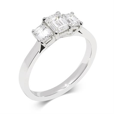 Platinum Emerald Cut Diamond Three Stone Engagement Ring 1.30ct thumbnail