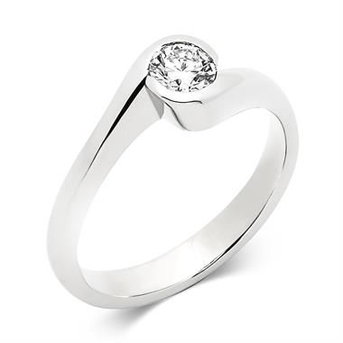 Platinum Rubover 0.32ct Diamond Twist Solitaire Ring thumbnail