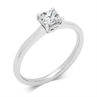 Platinum Classic Princess Cut 0.50ct Diamond Solitaire Ring thumbnail